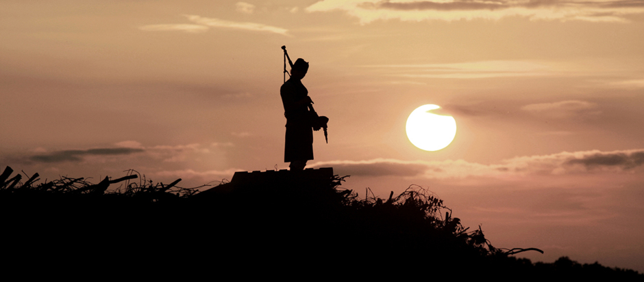 Scottish piper in a sunset. ww.kiltedcousinsfamilytrees.co.uk